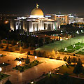 Night view of the Presidential square. Ashgabat pictures