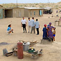 Tourists in nomadic village
