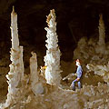 Koytendag caves. Gypsum chandeliers