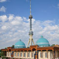 Memorial to the Victims of Repression with Tashkent TV Tower at the background