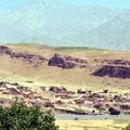 Afghan village over Panj river — Афганская деревушка за рекой Пяндж