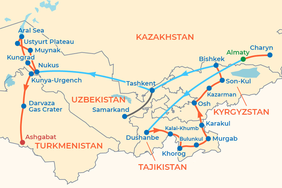 Central Asia Adventure Tour map