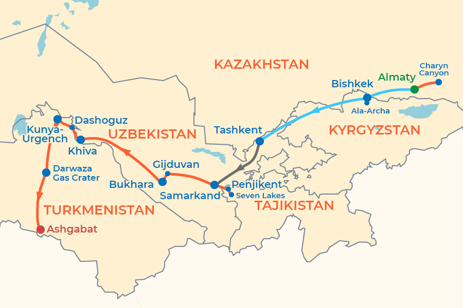 Budget Central Asia Group Tour 2020-2021 map