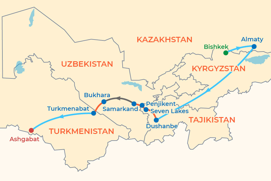 Five Stans Central Asia Budget Tour map