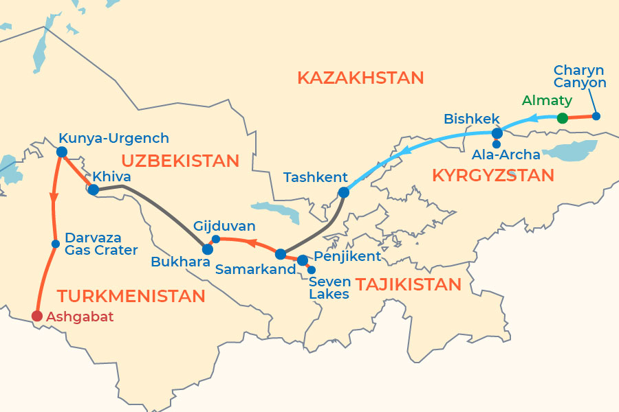 Pearls of Central Asia Tour map