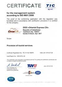 Certificate for the management system according to ISO 9001:2008