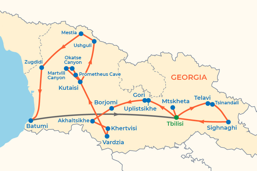 Culture and Nature of Georgia Tour map