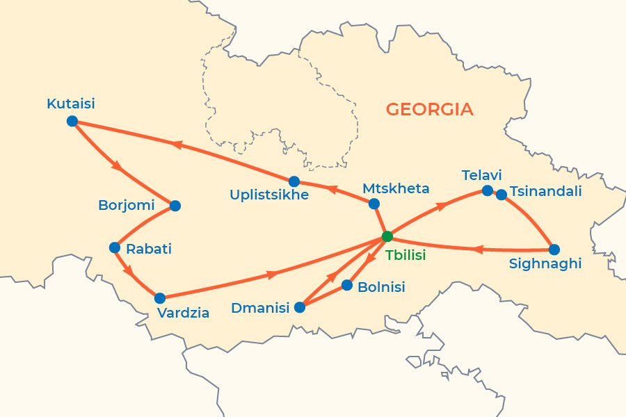 Silk Road in Georgia Tour map