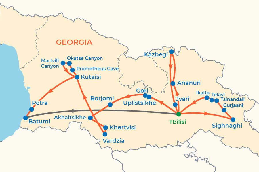 Georgian Wine and Mountains Tour map