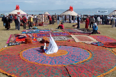 Felt Carpets and Yurts at the Festival, Kazakhstan
