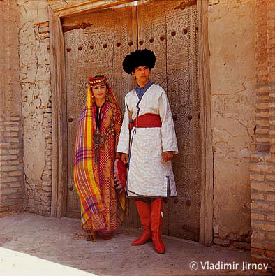 Сitizens of Khiva in national costumes