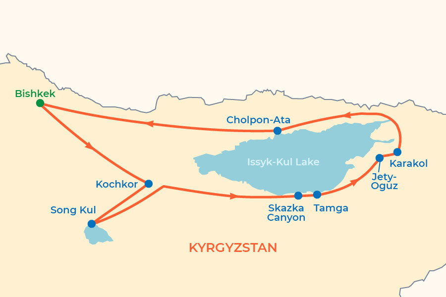Colors of Kyrgyzstan Discovery Tour map