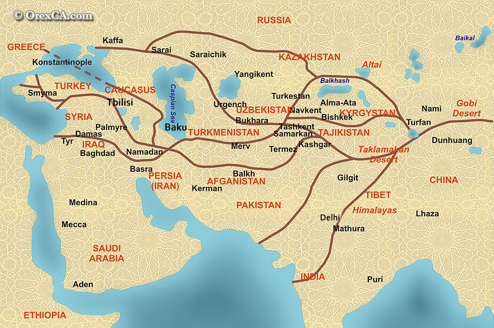 The great silk road map map of ancient silk road with modern the great silk road gumiabroncs Images