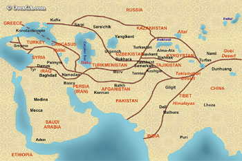 The Great Silk Road map. Electronic map of Silk Road. The ancient Silk Road map