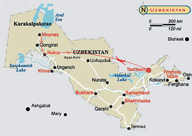 Map of Uzbekistan tour - Around the Ancient Cities of the Orient