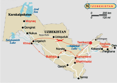 Map of tour to Uzbekistan - Towns and Sands