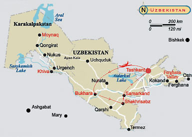 A map of journey through the history of Uzbekistan cities