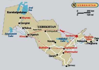 Map of tour to Uzbekistan - Around the Ancient Cities of the Orient