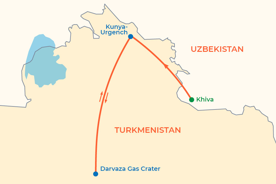 Darvaza Gas Crater Group Tour from Khiva 2021-2022 map