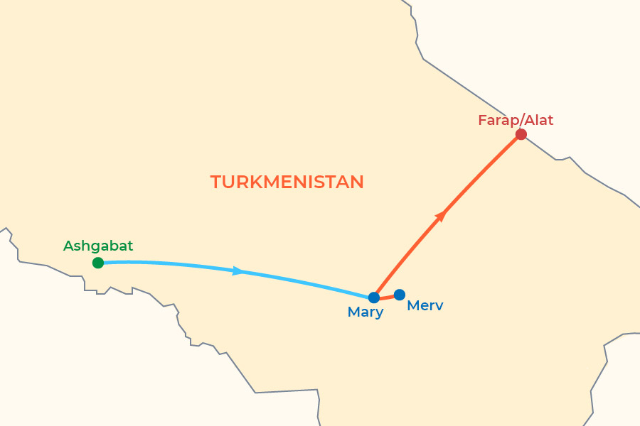 Silk Road in Turkmenistan Tour map