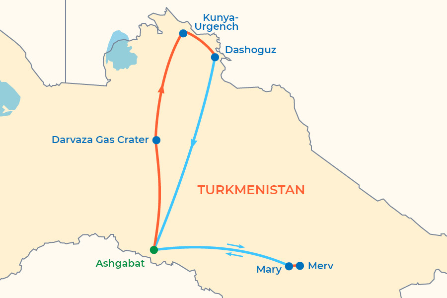 Turkmenistan Highlights Tour map