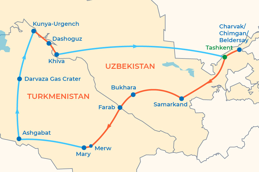 12-Day Uzbekistan-Turkmenistan Tour map
