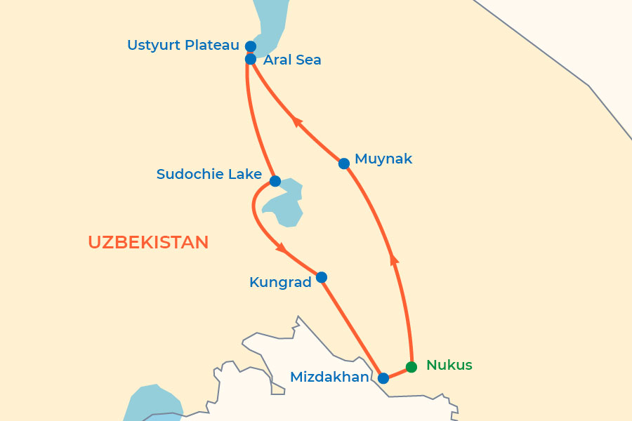 Two-day Aral Sea Tour map
