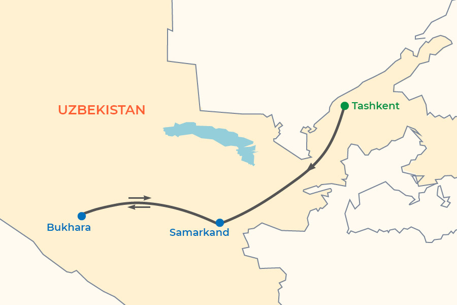 Golden Road to Samarkand Tour map
