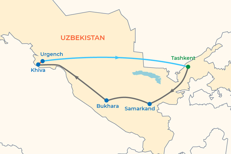 Historical Spots of Uzbekistan map