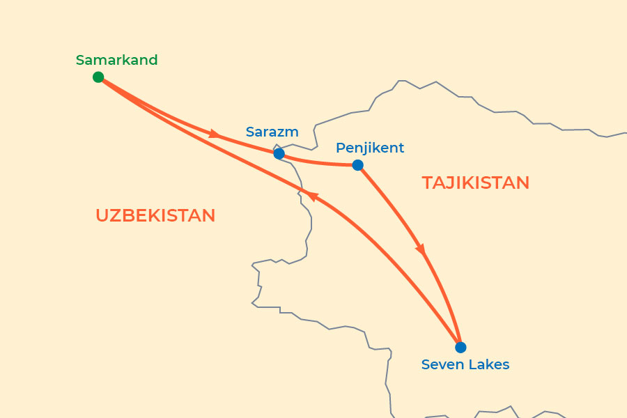 Penjikent and Seven Lakes Tour (from Samarkand) map