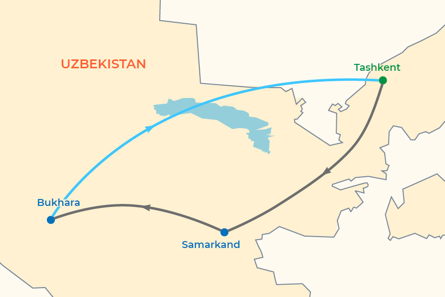 Silk and Spice Festival: Uzbekistan Small Group Tour 2021-2022 map