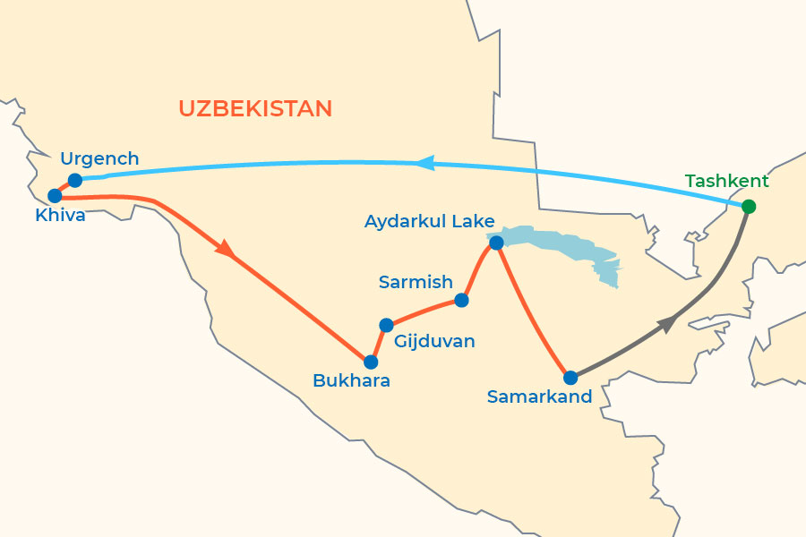 Silk Road Caravan in Uzbekistan Tour map
