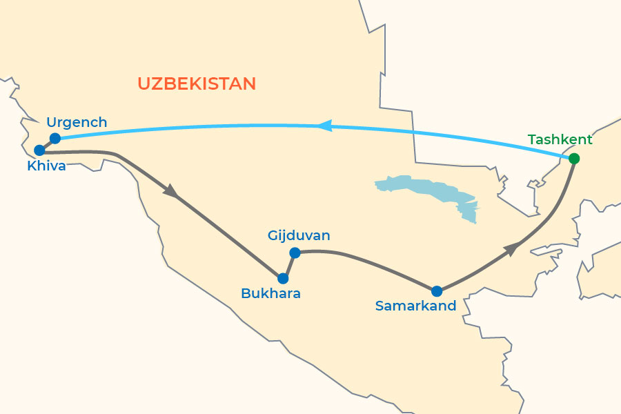 Uzbekistan Small Group Tour 2020-2021 map