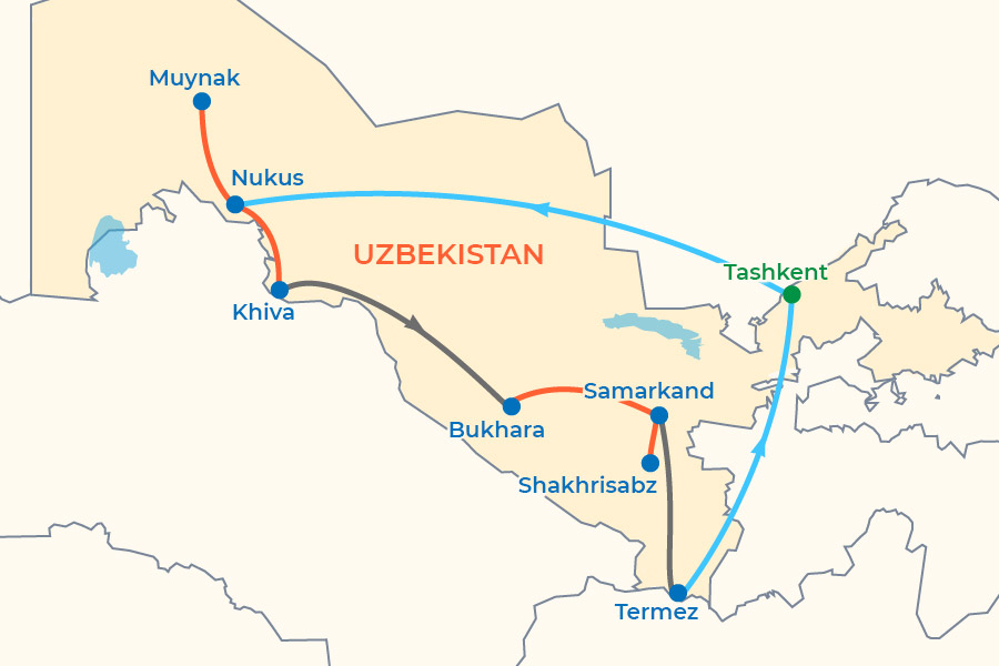 Treasures of Uzbekistan In-Depth Tour map
