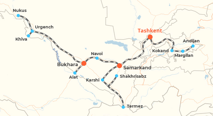 Map of Uzbekistan Train Routes
