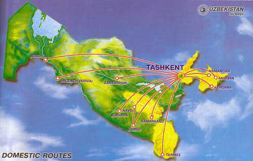 Uzbekistan Airways Domestic routes map